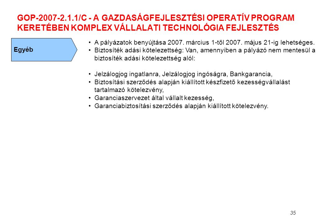 35 GOP-2007-2.1.1/C - A GAZDASÁGFEJLESZTÉSI OPERATÍV PROGRAM KERETÉBEN KOMPLEX VÁLLALATI TECHNOLÓGIA FEJLESZTÉS Egyéb •A pályázatok benyújtása 2007. m