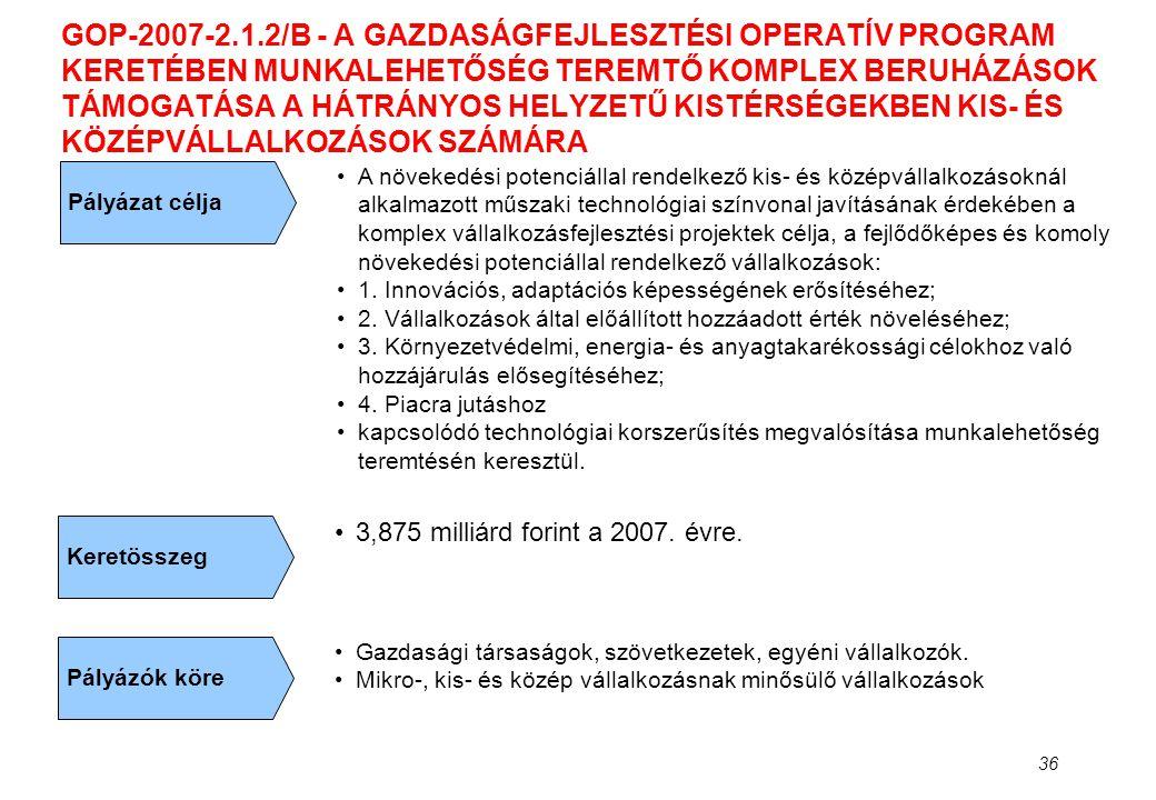 36 GOP-2007-2.1.2/B - A GAZDASÁGFEJLESZTÉSI OPERATÍV PROGRAM KERETÉBEN MUNKALEHETŐSÉG TEREMTŐ KOMPLEX BERUHÁZÁSOK TÁMOGATÁSA A HÁTRÁNYOS HELYZETŰ KIST