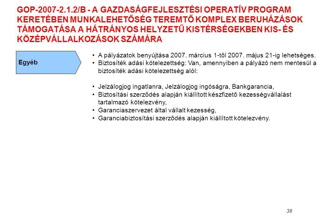 38 GOP-2007-2.1.2/B - A GAZDASÁGFEJLESZTÉSI OPERATÍV PROGRAM KERETÉBEN MUNKALEHETŐSÉG TEREMTŐ KOMPLEX BERUHÁZÁSOK TÁMOGATÁSA A HÁTRÁNYOS HELYZETŰ KIST