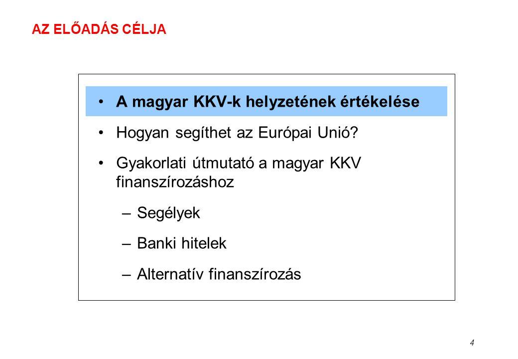 4 AZ ELŐADÁS CÉLJA •A magyar KKV-k helyzetének értékelése •Hogyan segíthet az Európai Unió? •Gyakorlati útmutató a magyar KKV finanszírozáshoz –Segély