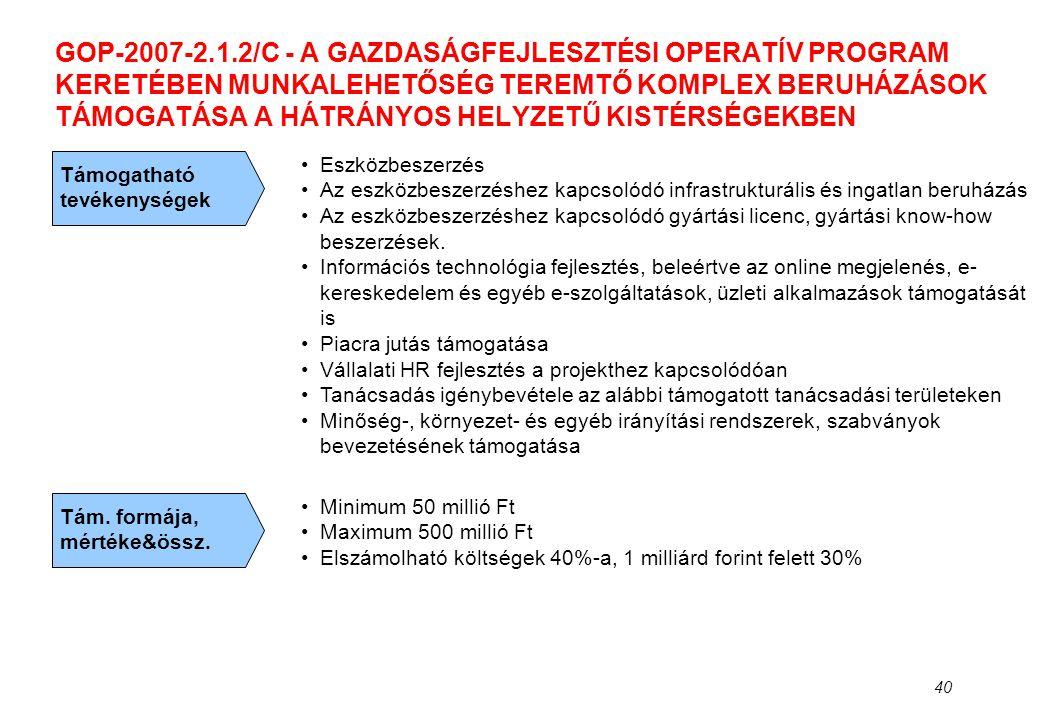 40 GOP-2007-2.1.2/C - A GAZDASÁGFEJLESZTÉSI OPERATÍV PROGRAM KERETÉBEN MUNKALEHETŐSÉG TEREMTŐ KOMPLEX BERUHÁZÁSOK TÁMOGATÁSA A HÁTRÁNYOS HELYZETŰ KIST