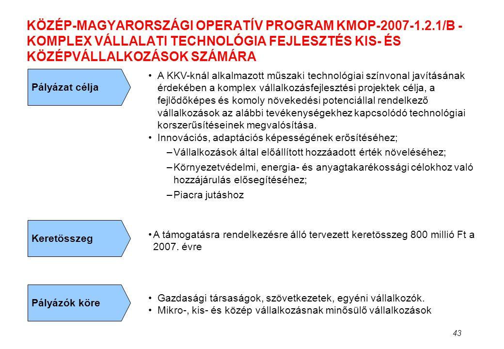 43 KÖZÉP-MAGYARORSZÁGI OPERATÍV PROGRAM KMOP-2007-1.2.1/B - KOMPLEX VÁLLALATI TECHNOLÓGIA FEJLESZTÉS KIS- ÉS KÖZÉPVÁLLALKOZÁSOK SZÁMÁRA Pályázat célja
