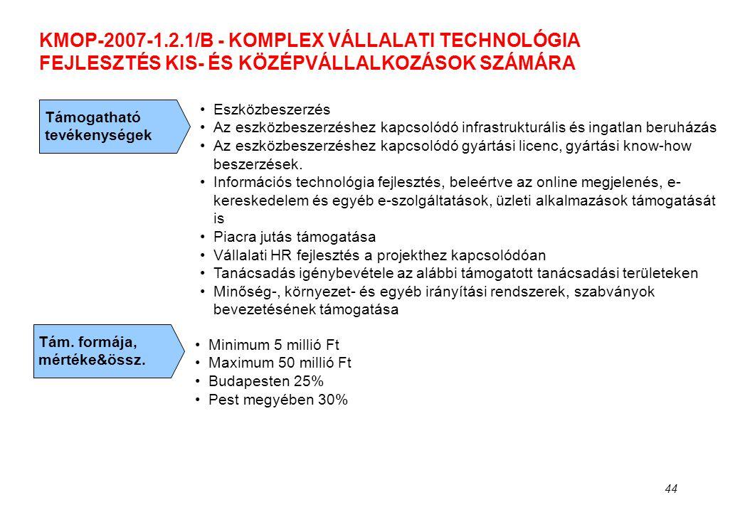 44 KMOP-2007-1.2.1/B - KOMPLEX VÁLLALATI TECHNOLÓGIA FEJLESZTÉS KIS- ÉS KÖZÉPVÁLLALKOZÁSOK SZÁMÁRA Támogatható tevékenységek •Eszközbeszerzés •Az eszk