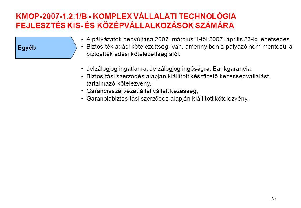 45 KMOP-2007-1.2.1/B - KOMPLEX VÁLLALATI TECHNOLÓGIA FEJLESZTÉS KIS- ÉS KÖZÉPVÁLLALKOZÁSOK SZÁMÁRA Egyéb •A pályázatok benyújtása 2007. március 1-től