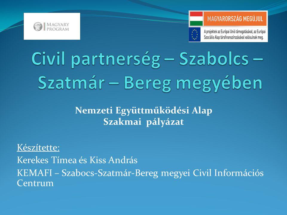 Készítette: Kerekes Tímea és Kiss András KEMAFI – Szabocs-Szatmár-Bereg megyei Civil Információs Centrum Nemzeti Együttműködési Alap Szakmai pályázat