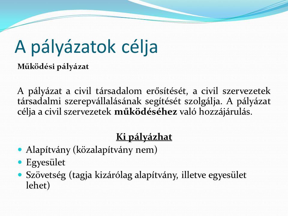 A pályázatok célja Működési pályázat A pályázat a civil társadalom erősítését, a civil szervezetek társadalmi szerepvállalásának segítését szolgálja.