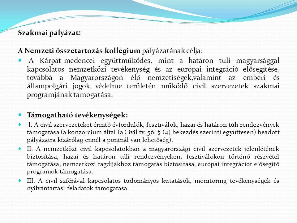 Szakmai pályázat: A Nemzeti összetartozás kollégium pályázatának célja:  A Kárpát-medencei együttműködés, mint a határon túli magyarsággal kapcsolato
