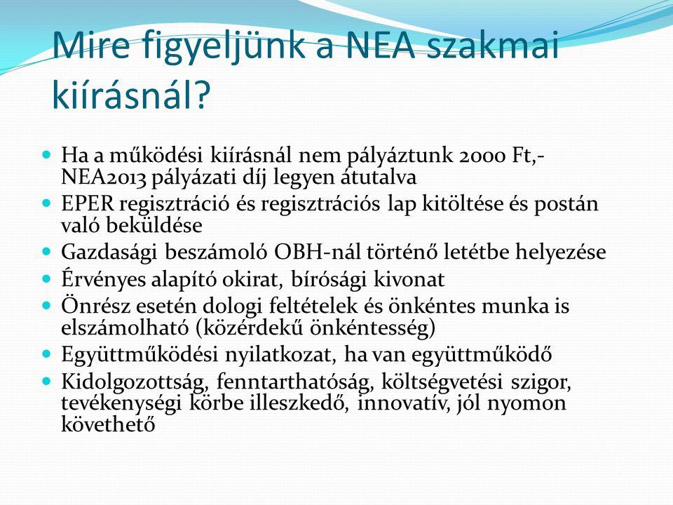  Ha a működési kiírásnál nem pályáztunk 2000 Ft,- NEA2013 pályázati díj legyen átutalva  EPER regisztráció és regisztrációs lap kitöltése és postán