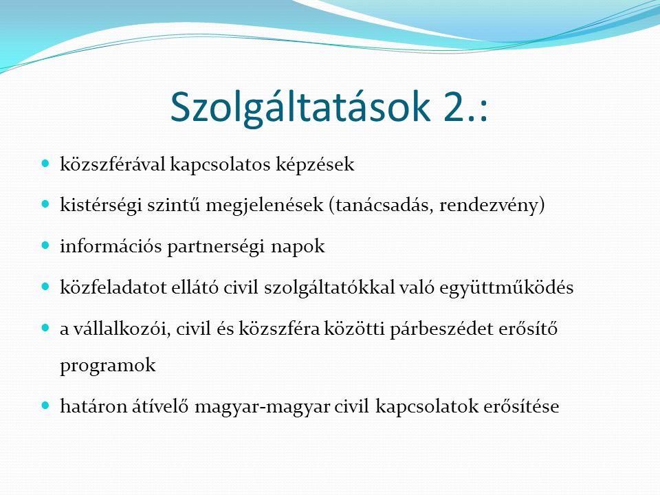Szolgáltatások 2.:  közszférával kapcsolatos képzések  kistérségi szintű megjelenések (tanácsadás, rendezvény)  információs partnerségi napok  köz