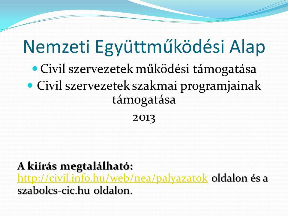 Nemzeti Együttműködési Alap  Civil szervezetek működési támogatása  Civil szervezetek szakmai programjainak támogatása 2013 A kiírás megtalálható: o