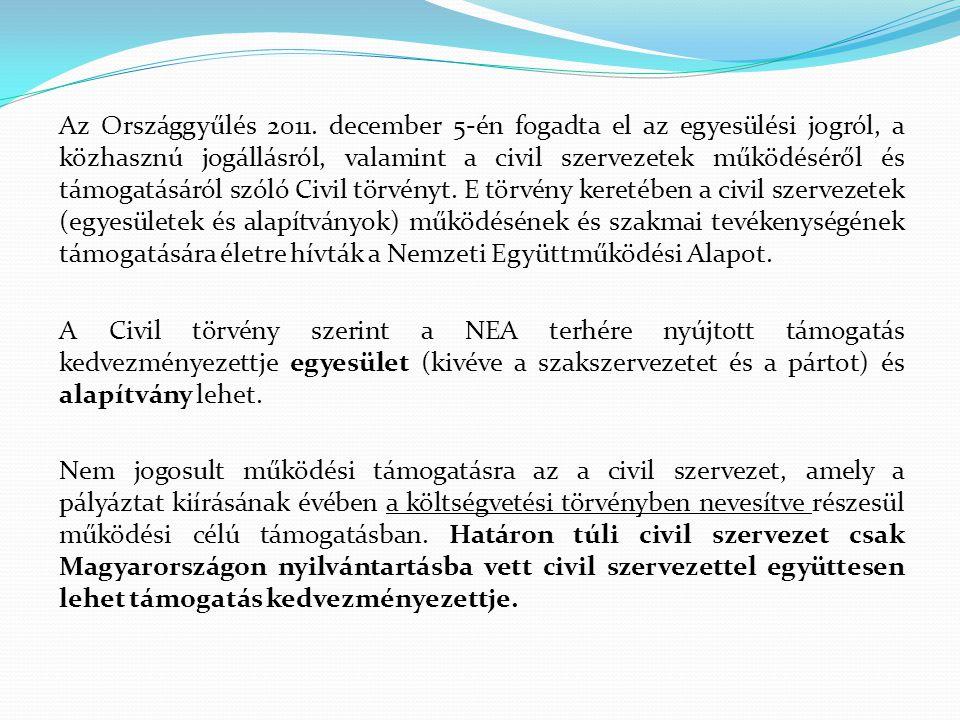 Az Országgyűlés 2011. december 5-én fogadta el az egyesülési jogról, a közhasznú jogállásról, valamint a civil szervezetek működéséről és támogatásáró