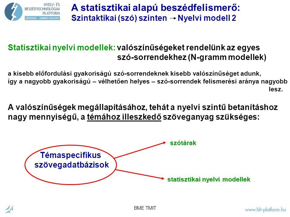 BME TMIT A statisztikai alapú beszédfelismerő: Szintaktikai (szó) szinten Nyelvi modell 1 értelmes szósorozatok szabályalapú modellek: útvonalkeresés gráfban - Determinisztikus nyelvtan.