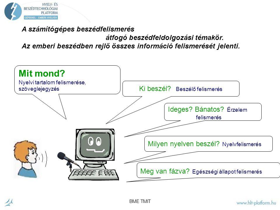 BME TMIT Egy tipikus automatizált beszéd-dialógus rendszer fő komponensei Az ember-gép közötti párbeszéd megteremtése ma többnyire a beszélt nyelvi interfészek megvalósításával történik.