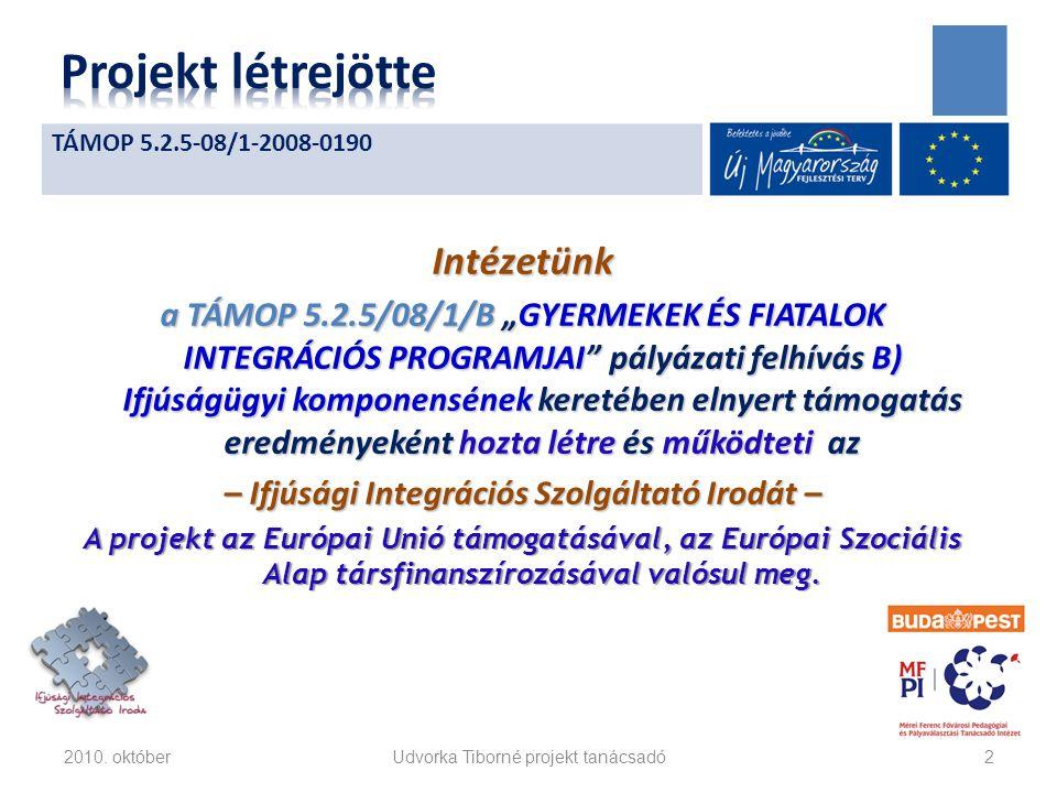 """Intézetünk a TÁMOP 5.2.5/08/1/B """"GYERMEKEK ÉS FIATALOK INTEGRÁCIÓS PROGRAMJAI pályázati felhívás B) Ifjúságügyi komponensének keretében elnyert támogatás eredményeként hozta létre és működteti az – Ifjúsági Integrációs Szolgáltató Irodát – A projekt az Európai Unió támogatásával, az Európai Szociális Alap társfinanszírozásával valósul meg."""