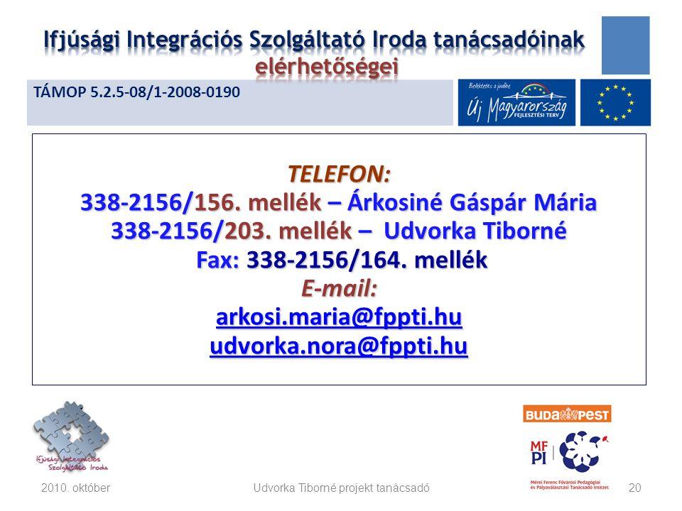 TELEFON: 338-2156/156. mellék – Árkosiné Gáspár Mária 338-2156/203.