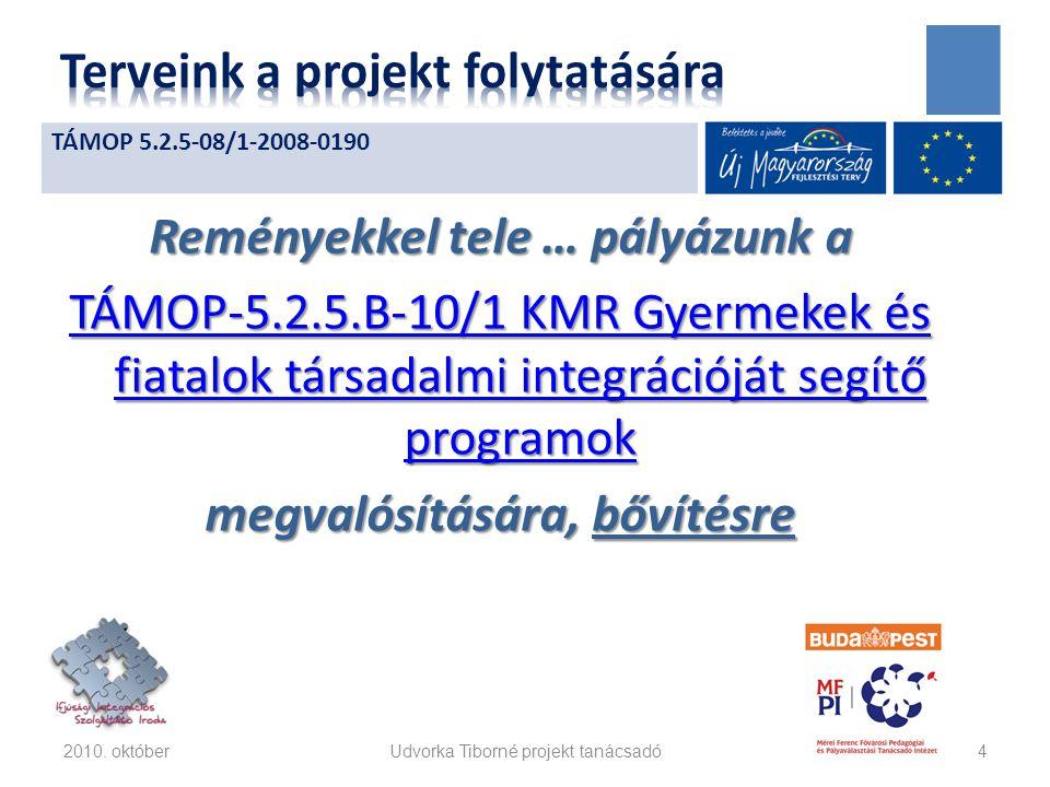 Reményekkel tele … pályázunk a TÁMOP-5.2.5.B-10/1 KMR Gyermekek és fiatalok társadalmi integrációját segítő programok TÁMOP-5.2.5.B-10/1 KMR Gyermekek