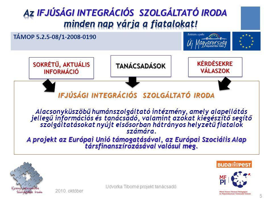 2010. október IFJÚSÁGI INTEGRÁCIÓS SZOLGÁLTATÓ IRODA Alacsonyküszöbű humánszolgáltató intézmény, amely alapellátás jellegű információs és tanácsadó, v
