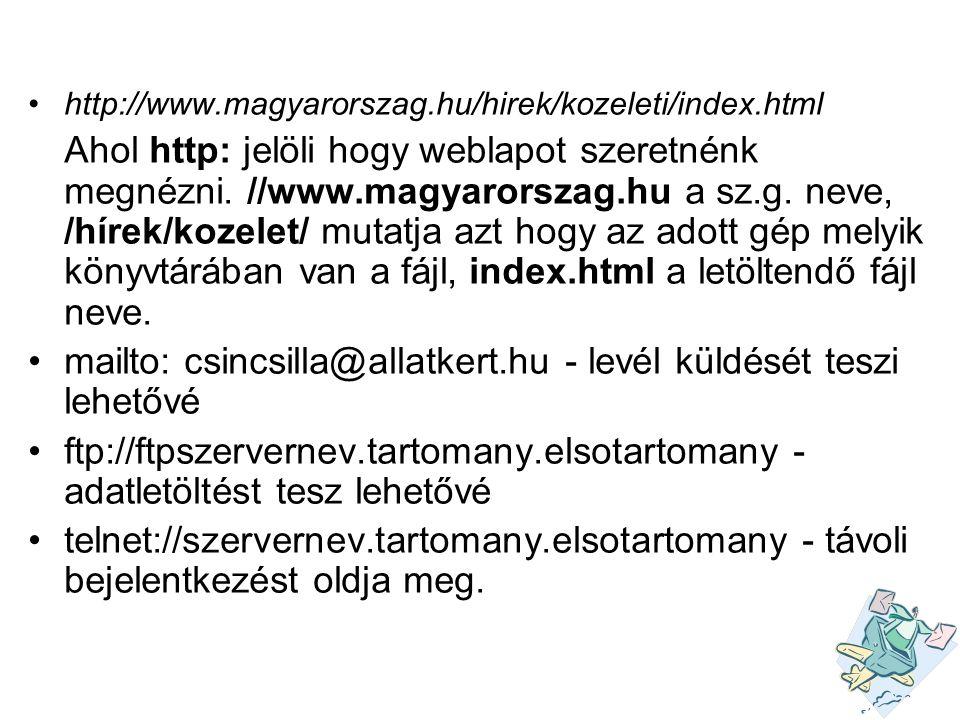•http://www.magyarorszag.hu/hirek/kozeleti/index.html Ahol http: jelöli hogy weblapot szeretnénk megnézni. //www.magyarorszag.hu a sz.g. neve, /hírek/
