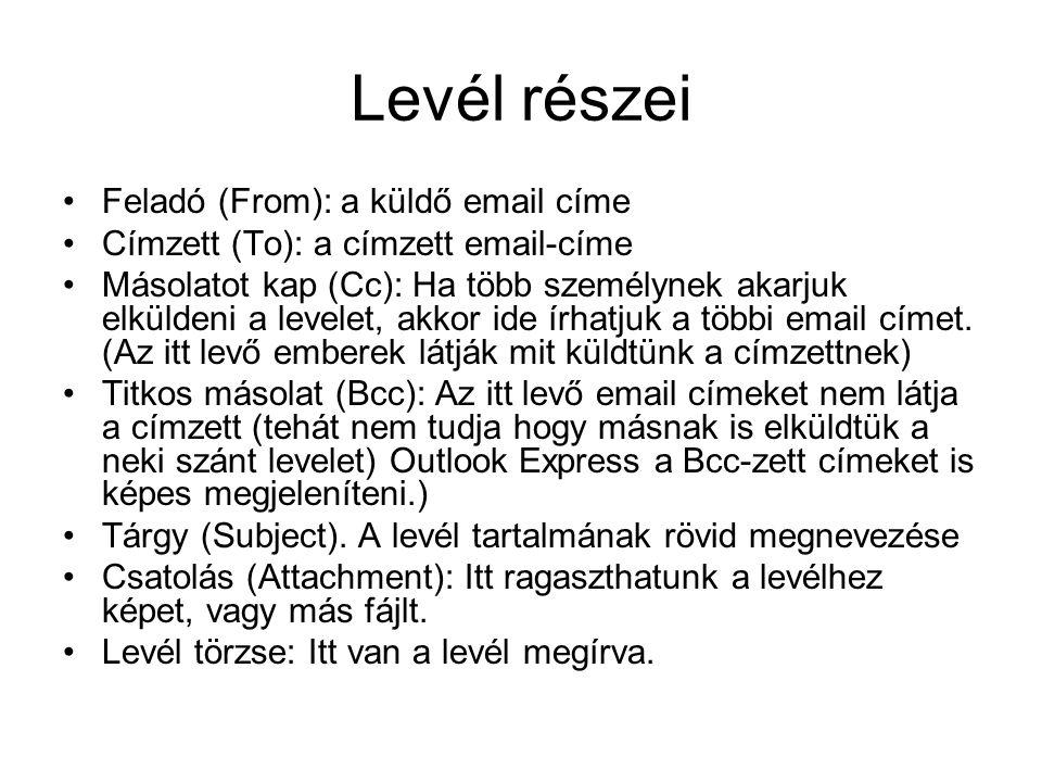 Levél részei •Feladó (From): a küldő email címe •Címzett (To): a címzett email-címe •Másolatot kap (Cc): Ha több személynek akarjuk elküldeni a levele