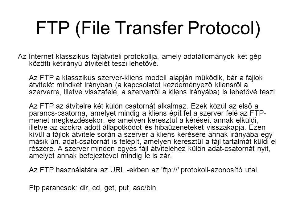 FTP (File Transfer Protocol) Az Internet klasszikus fájlátviteli protokollja, amely adatállományok két gép közötti kétirányú átvitelét teszi lehetővé.