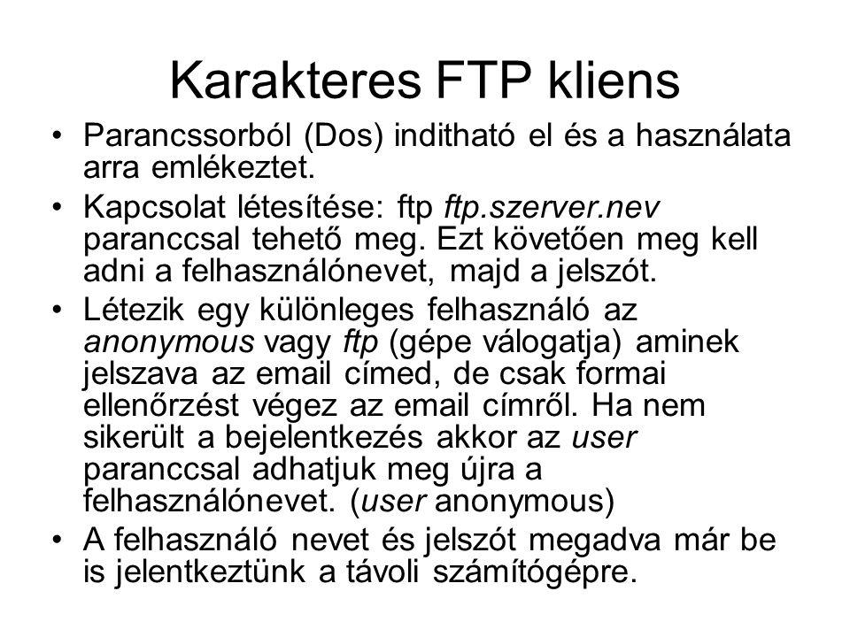 Karakteres FTP kliens •Parancssorból (Dos) inditható el és a használata arra emlékeztet. •Kapcsolat létesítése: ftp ftp.szerver.nev paranccsal tehető