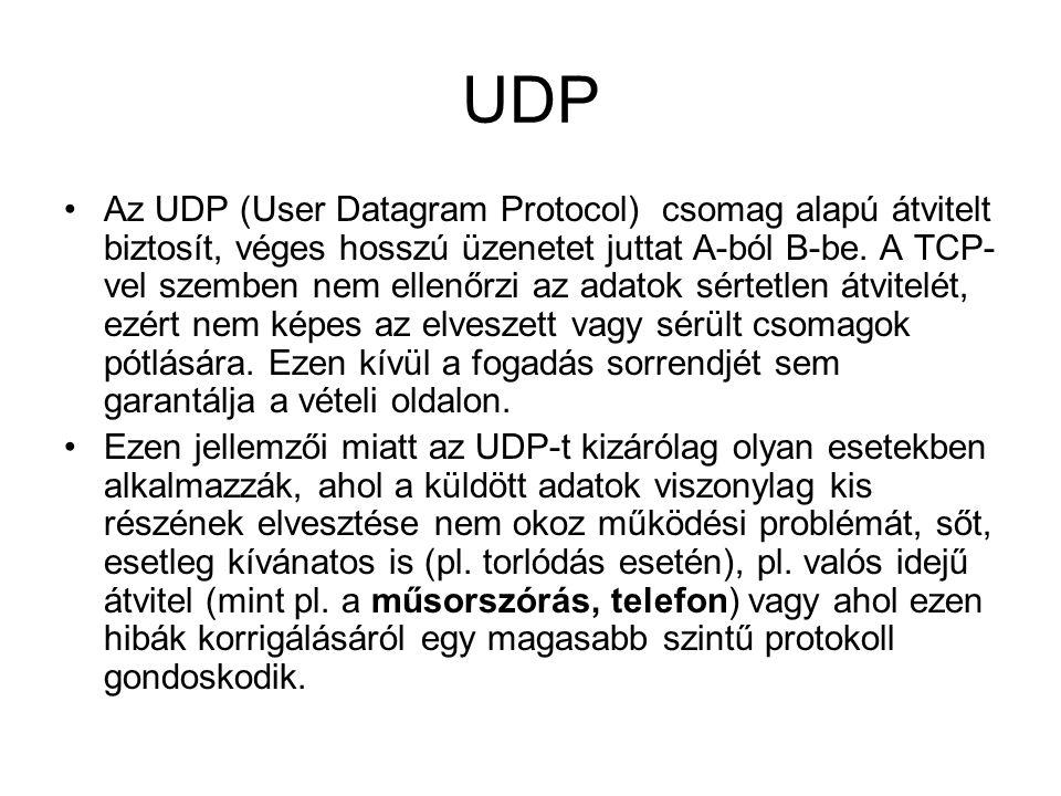 UDP •Az UDP (User Datagram Protocol) csomag alapú átvitelt biztosít, véges hosszú üzenetet juttat A-ból B-be. A TCP- vel szemben nem ellenőrzi az adat