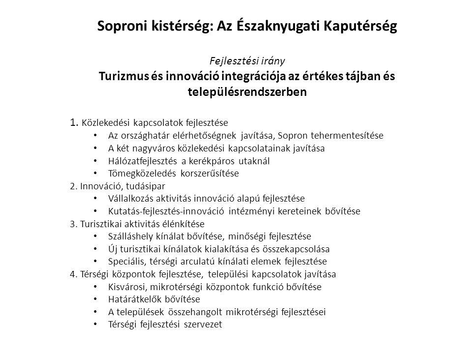 Soproni kistérség: Az Északnyugati Kaputérség Fejlesztési irány Turizmus és innováció integrációja az értékes tájban és településrendszerben 1. Közlek