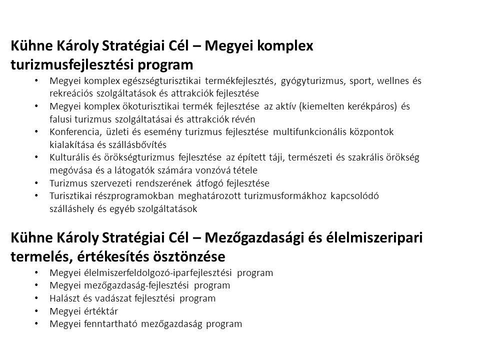 Kühne Károly Stratégiai Cél – Megyei komplex turizmusfejlesztési program • Megyei komplex egészségturisztikai termékfejlesztés, gyógyturizmus, sport,