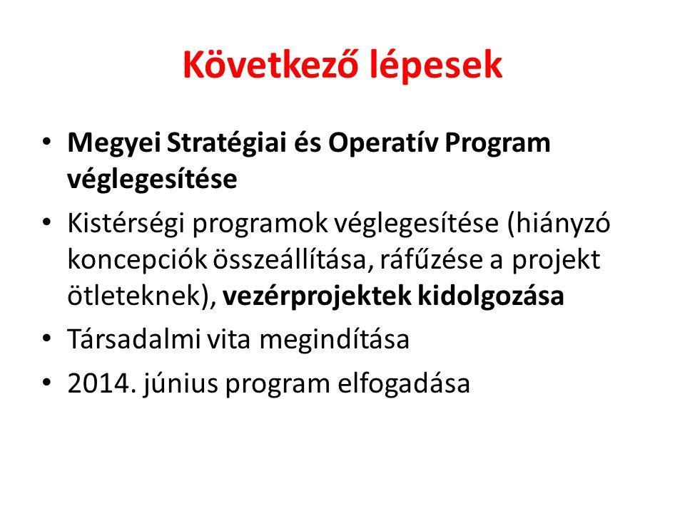 Következő lépesek • Megyei Stratégiai és Operatív Program véglegesítése • Kistérségi programok véglegesítése (hiányzó koncepciók összeállítása, ráfűzé