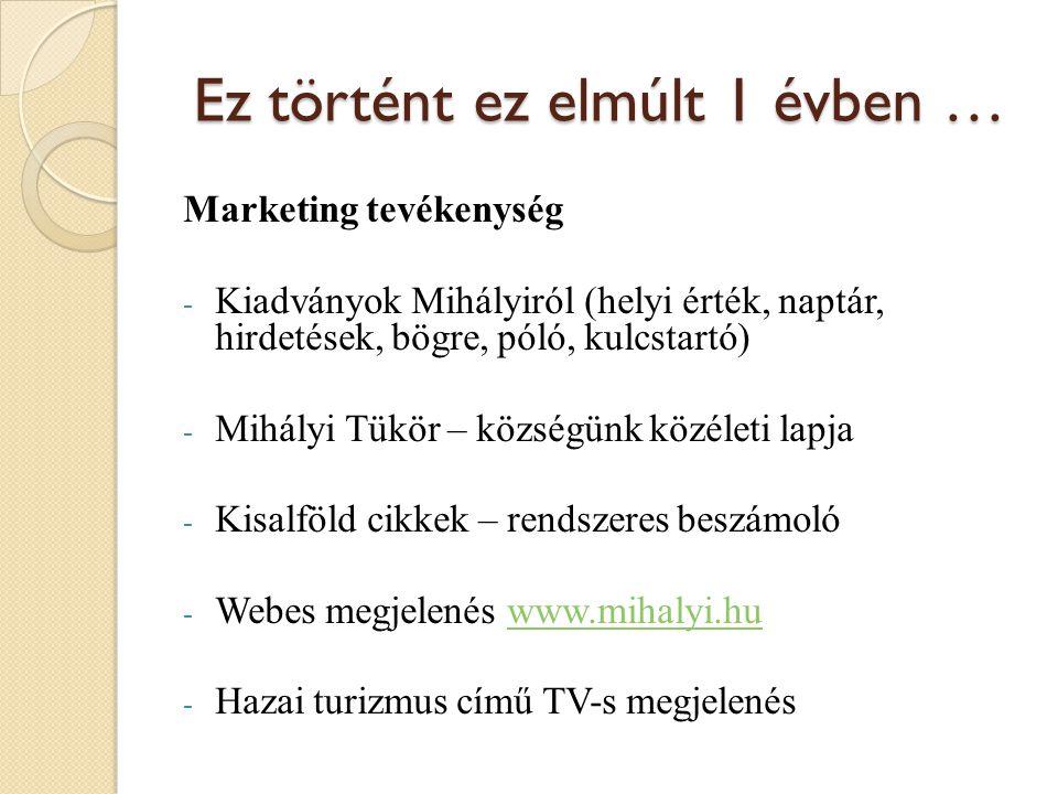 Ez történt ez elmúlt 1 évben … Marketing tevékenység - Kiadványok Mihályiról (helyi érték, naptár, hirdetések, bögre, póló, kulcstartó) - Mihályi Tükör – községünk közéleti lapja - Kisalföld cikkek – rendszeres beszámoló - Webes megjelenés www.mihalyi.huwww.mihalyi.hu - Hazai turizmus című TV-s megjelenés