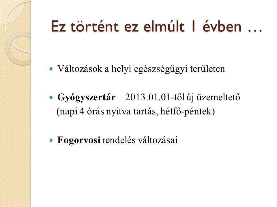Ez történt ez elmúlt 1 évben …  Változások a helyi egészségügyi területen  Gyógyszertár – 2013.01.01-től új üzemeltető (napi 4 órás nyitva tartás, hétfő-péntek)  Fogorvosi rendelés változásai