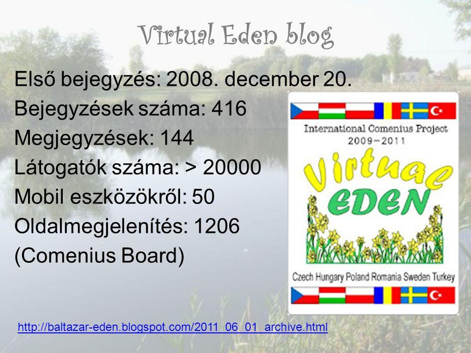 Virtual Eden blog Első bejegyzés: 2008. december 20. Bejegyzések száma: 416 Megjegyzések: 144 Látogatók száma: > 20000 Mobil eszközökről: 50 Oldalmegj