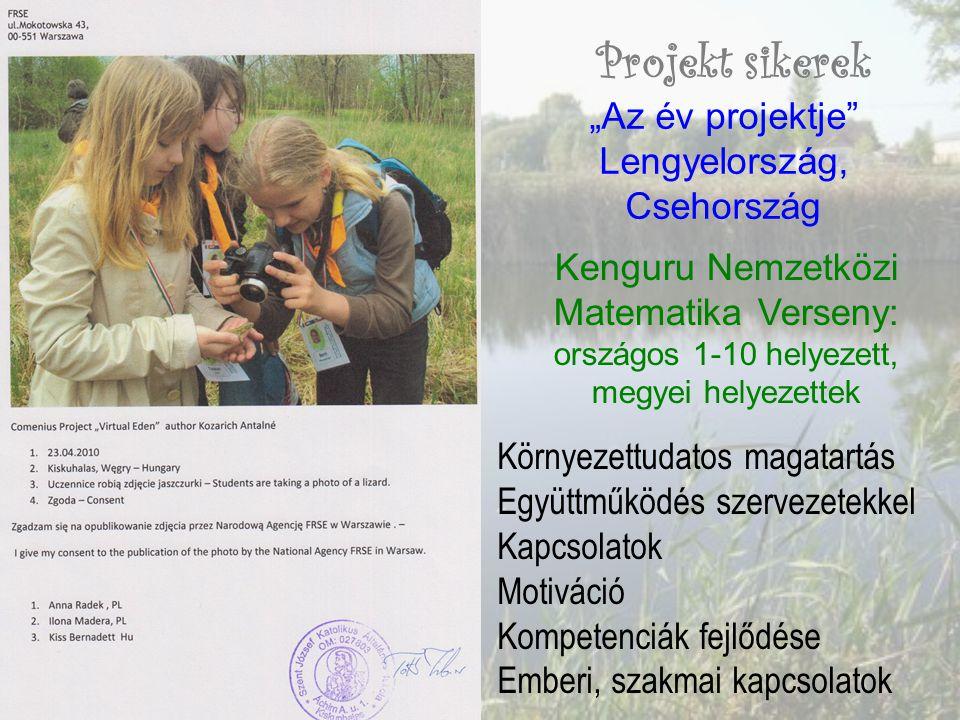 """Projekt sikerek """"Az év projektje Lengyelország, Csehország Kenguru Nemzetközi Matematika Verseny: országos 1-10 helyezett, megyei helyezettek Környezettudatos magatartás Együttműködés szervezetekkel Kapcsolatok Motiváció Kompetenciák fejlődése Emberi, szakmai kapcsolatok"""