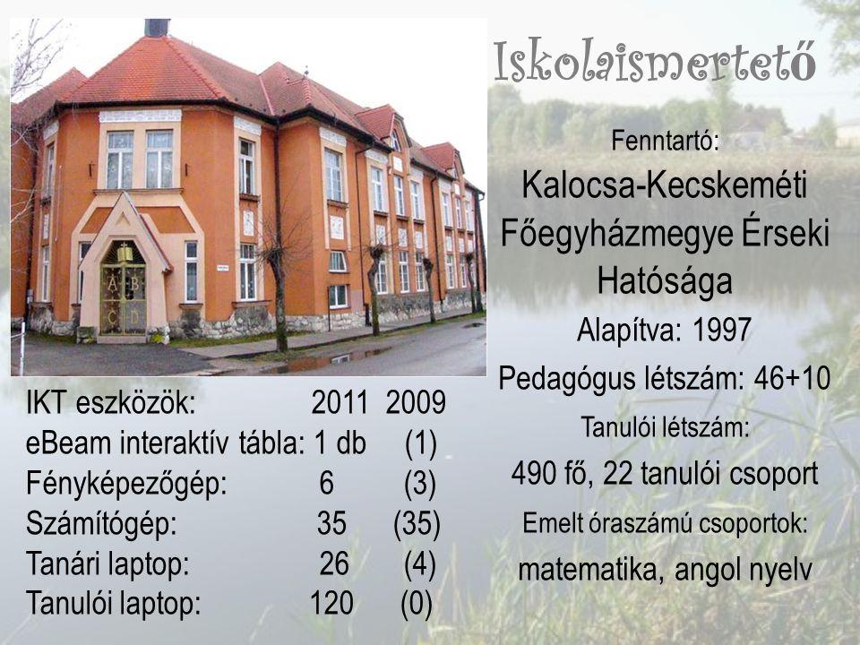 Fenntartó: Kalocsa-Kecskeméti Főegyházmegye Érseki Hatósága Alapítva: 1997 Pedagógus létszám: 46+10 Tanulói létszám: 490 fő, 22 tanulói csoport Emelt