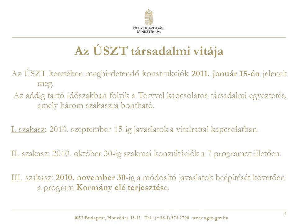 5 Az ÚSZT társadalmi vitája Az ÚSZT keretében meghirdetendő konstrukciók 2011.