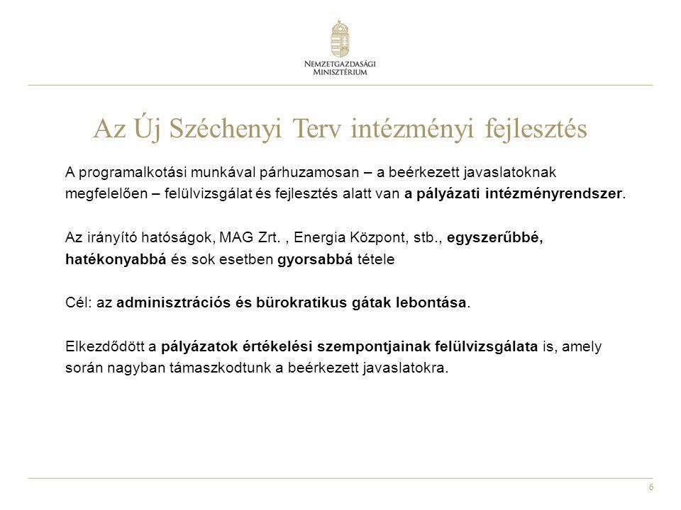 6 Az Új Széchenyi Terv intézményi fejlesztés A programalkotási munkával párhuzamosan – a beérkezett javaslatoknak megfelelően – felülvizsgálat és fejlesztés alatt van a pályázati intézményrendszer.