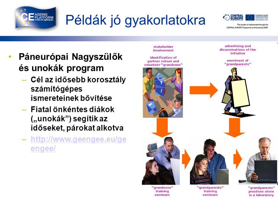 """Példák jó gyakorlatokra •Páneurópai Nagyszülők és unokák program –Cél az idősebb korosztály számítógépes ismereteinek bővítése –Fiatal önkéntes diákok (""""unokák ) segítik az időseket, párokat alkotva –http://www.geengee.eu/ge engee/http://www.geengee.eu/ge engee/ 10"""
