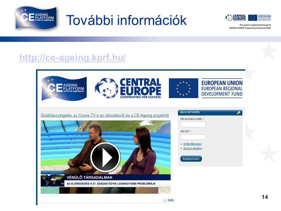 További információk http://ce-ageing.kprf.hu/ 14