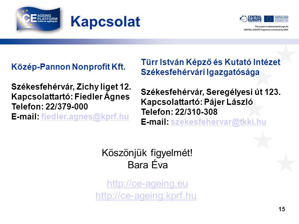 Kapcsolat 15 Közép-Pannon Nonprofit Kft. Székesfehérvár, Zichy liget 12. Kapcsolattartó: Fiedler Ágnes Telefon: 22/379-000 E-mail: fiedler.agnes@kprf.