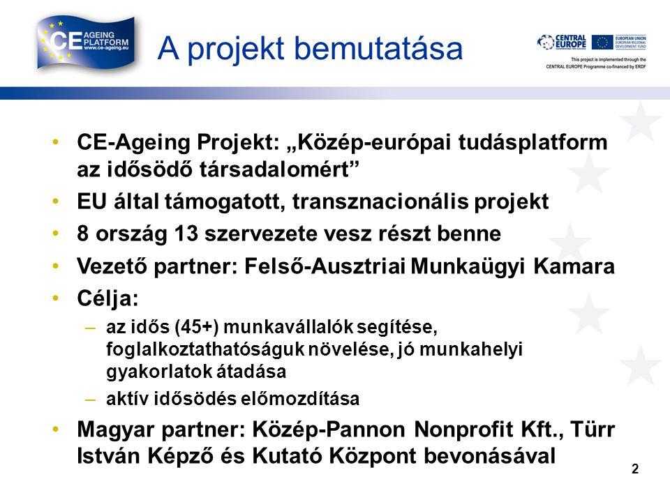 """A projekt bemutatása •CE-Ageing Projekt: """"Közép-európai tudásplatform az idősödő társadalomért •EU által támogatott, transznacionális projekt •8 ország 13 szervezete vesz részt benne •Vezető partner: Felső-Ausztriai Munkaügyi Kamara •Célja: –az idős (45+) munkavállalók segítése, foglalkoztathatóságuk növelése, jó munkahelyi gyakorlatok átadása –aktív idősödés előmozdítása •Magyar partner: Közép-Pannon Nonprofit Kft., Türr István Képző és Kutató Központ bevonásával 2"""