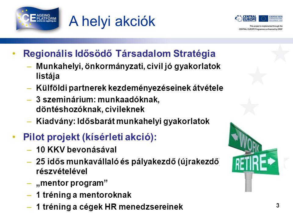 """A helyi akciók •Regionális Idősödő Társadalom Stratégia –Munkahelyi, önkormányzati, civil jó gyakorlatok listája –Külföldi partnerek kezdeményezéseinek átvétele –3 szeminárium: munkaadóknak, döntéshozóknak, civileknek –Kiadvány: Idősbarát munkahelyi gyakorlatok •Pilot projekt (kísérleti akció): –10 KKV bevonásával –25 idős munkavállaló és pályakezdő (újrakezdő) részvételével –""""mentor program –1 tréning a mentoroknak –1 tréning a cégek HR menedzsereinek 3"""
