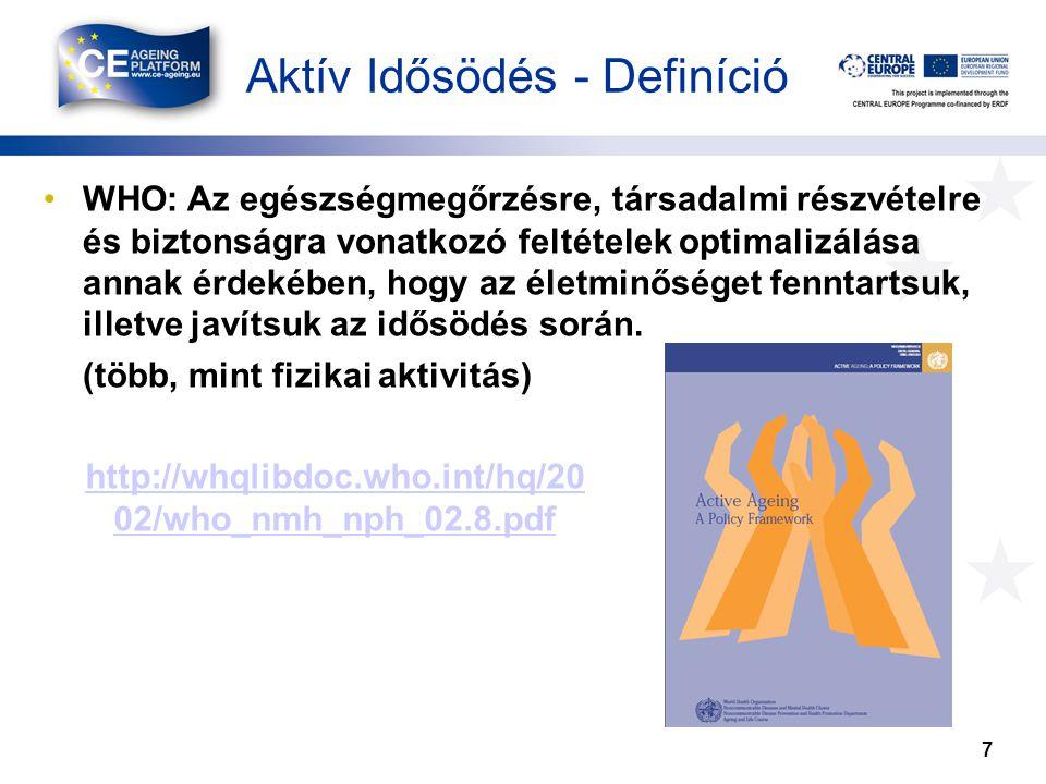 Aktív Idősödés - Definíció 7 •WHO: Az egészségmegőrzésre, társadalmi részvételre és biztonságra vonatkozó feltételek optimalizálása annak érdekében, hogy az életminőséget fenntartsuk, illetve javítsuk az idősödés során.