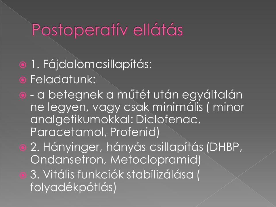  1. Fájdalomcsillapítás:  Feladatunk:  - a betegnek a műtét után egyáltalán ne legyen, vagy csak minimális ( minor analgetikumokkal: Diclofenac, Pa