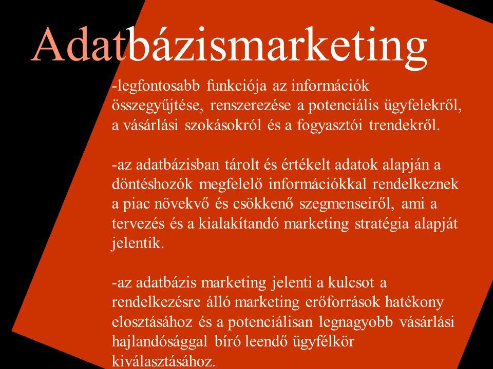 Adatbázismarketing -legfontosabb funkciója az információk összegyűjtése, renszerezése a potenciális ügyfelekről, a vásárlási szokásokról és a fogyasztói trendekről.