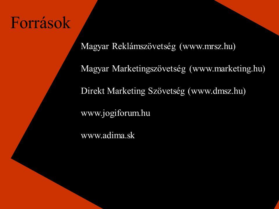 Források Magyar Reklámszövetség (www.mrsz.hu) Magyar Marketingszövetség (www.marketing.hu) Direkt Marketing Szövetség (www.dmsz.hu) www.jogiforum.hu www.adima.sk