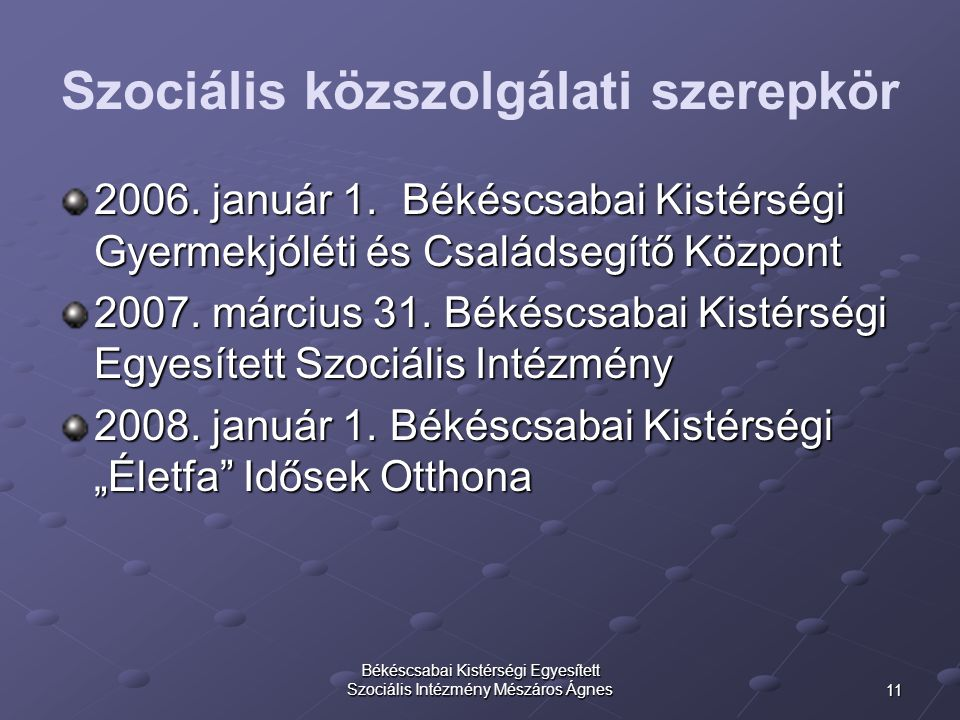 11 Békéscsabai Kistérségi Egyesített Szociális Intézmény Mészáros Ágnes Szociális közszolgálati szerepkör 2006. január 1. Békéscsabai Kistérségi Gyerm