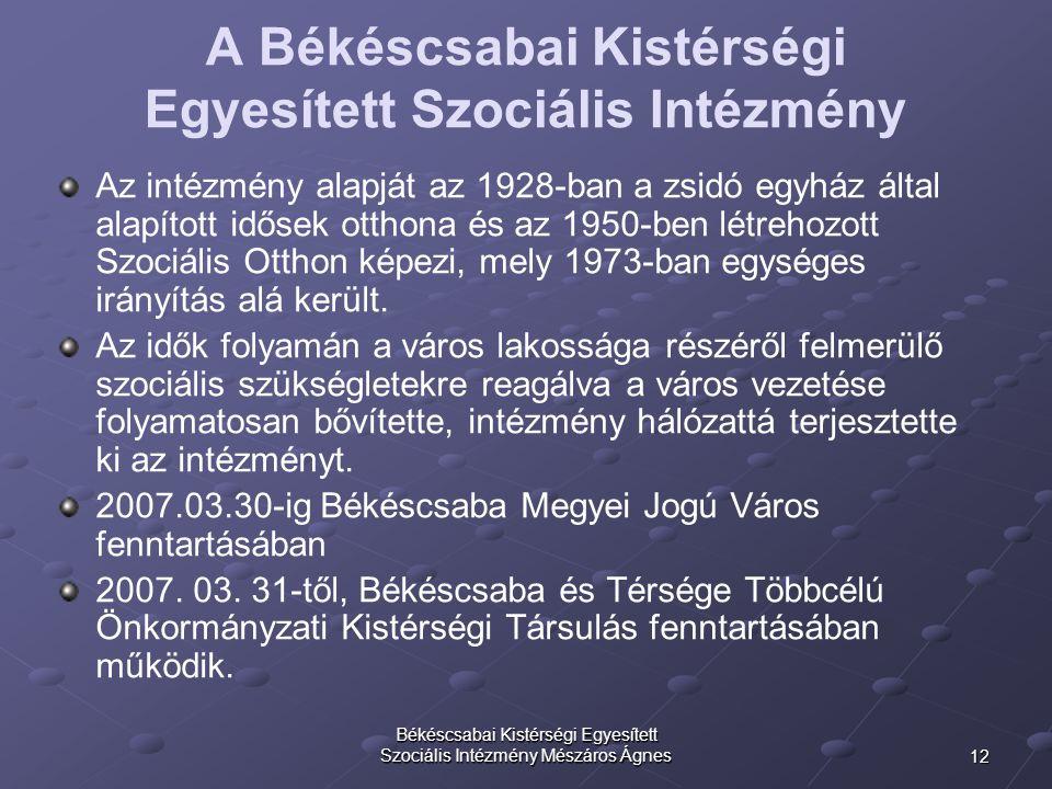 12 Békéscsabai Kistérségi Egyesített Szociális Intézmény Mészáros Ágnes A Békéscsabai Kistérségi Egyesített Szociális Intézmény Az intézmény alapját a