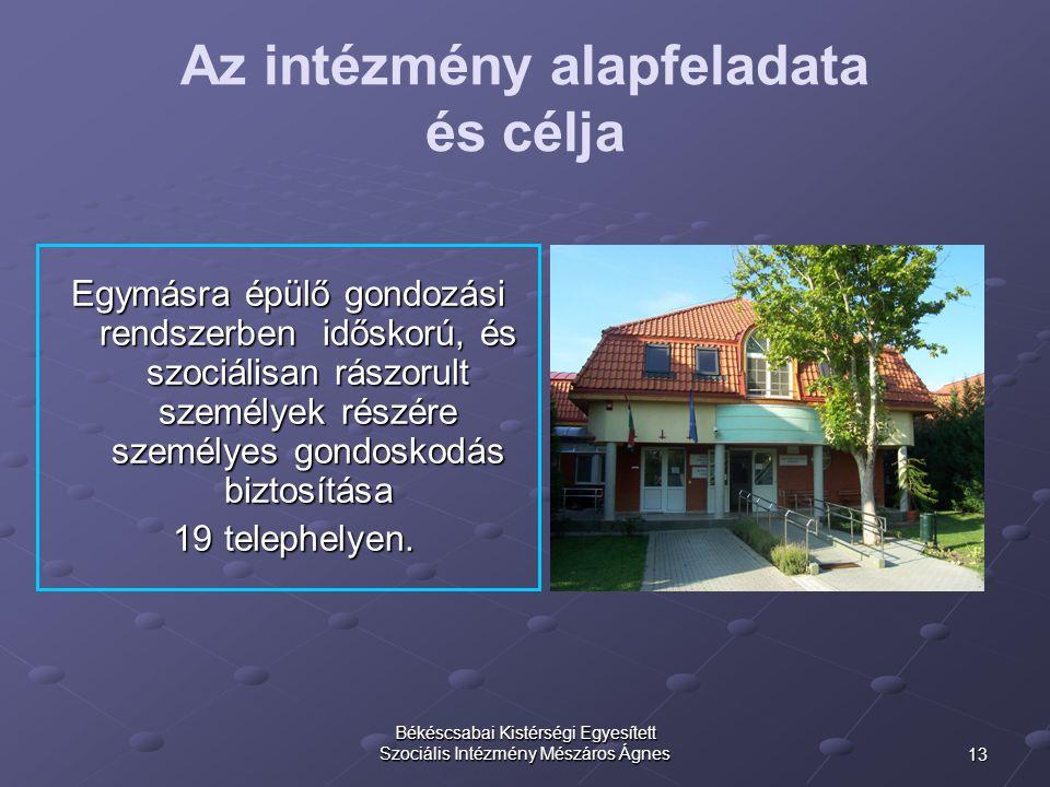 13 Békéscsabai Kistérségi Egyesített Szociális Intézmény Mészáros Ágnes Az intézmény alapfeladata és célja Egymásra épülő gondozási rendszerben idősko