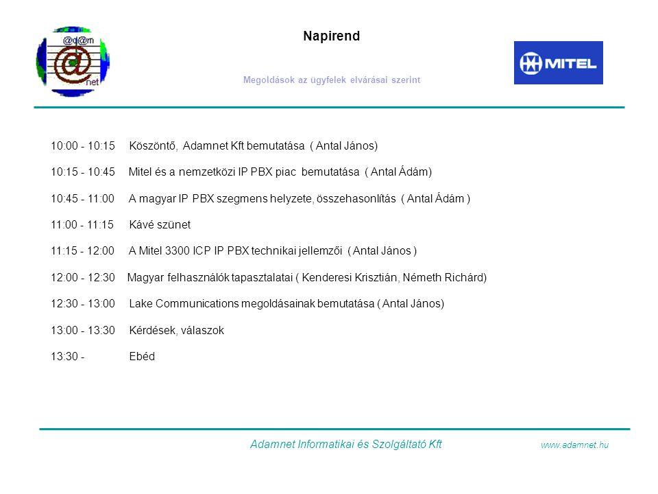 Napirend Megoldások az ügyfelek elvárásai szerint 10:00 - 10:15 Köszöntő, Adamnet Kft bemutatása ( Antal János) 10:15 - 10:45 Mitel és a nemzetközi IP