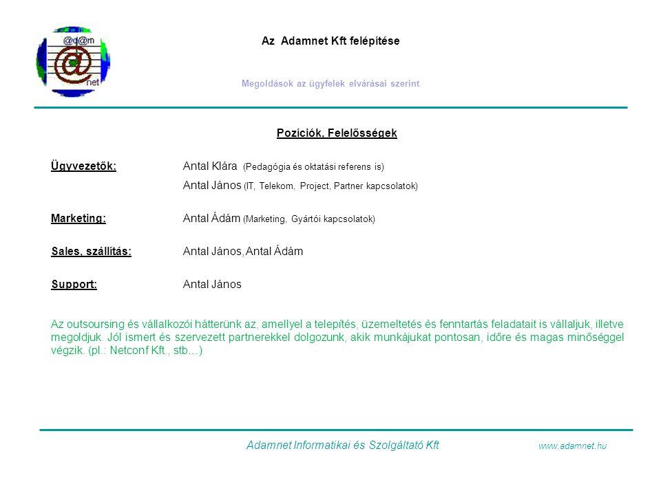 Az Adamnet Kft felépítése Megoldások az ügyfelek elvárásai szerint Pozíciók, Felelősségek Ügyvezetők:Antal Klára (Pedagógia és oktatási referens is) A